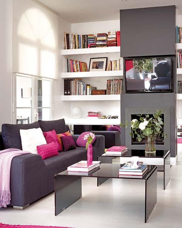Sala De Tv Com Sofa Roxo ~ na sala de estar