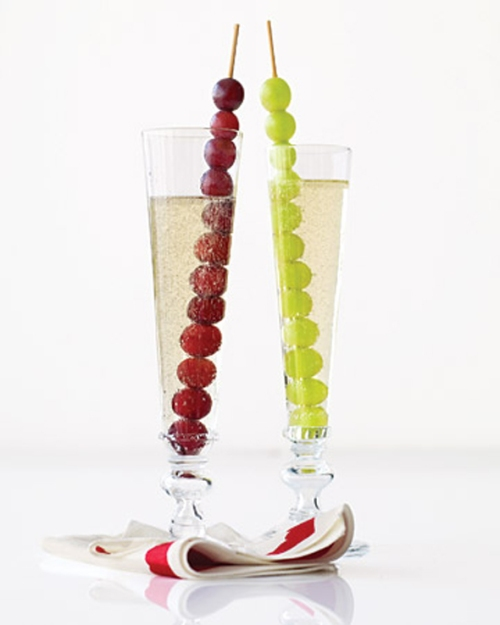 Uvas na taça de Champagne