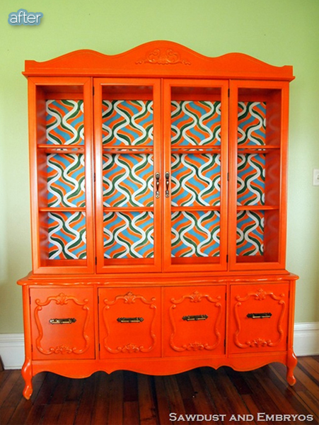 orange hutch makeover after