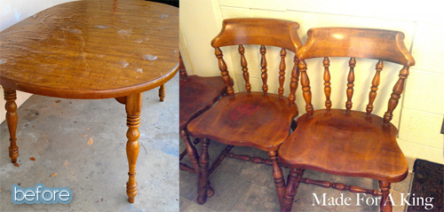 shabby chic dining set makeover before