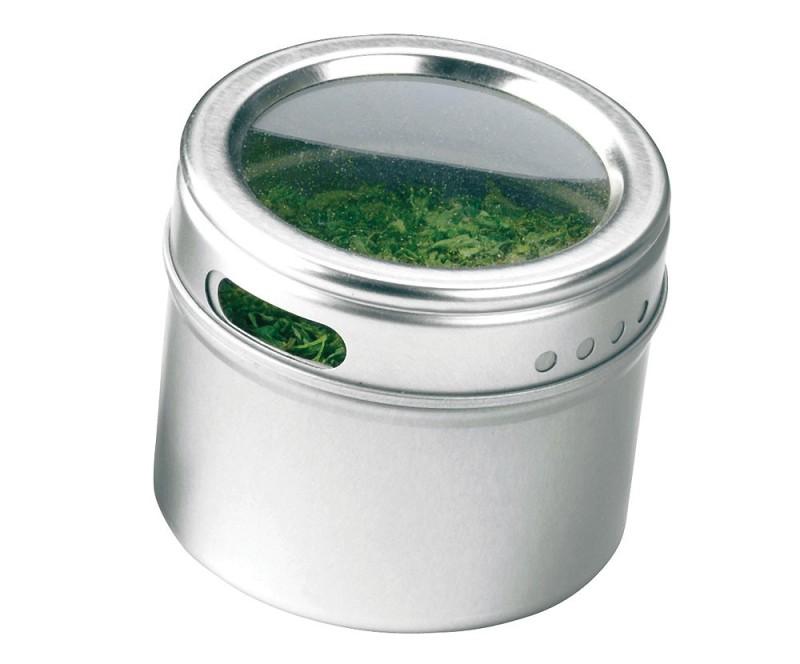 Porta condimentos de aço inox com tampa translúcida. Possui fundo metalizado que permite fixar em geladeiras e superfícies de metal.